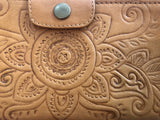 Leather Handtooled Wallet/Clutch - Tan