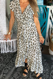 Frill Wrap Dress - Leopard Print