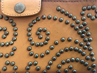 Brown Leather stud wallet