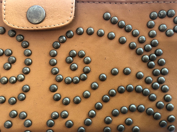 Leather Stud Wallet/Clutch - Tan