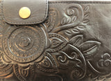 Leather Handtooled Wallet/Clutch - Black