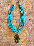 Beaded Multi-Strand Necklace - Turquoise