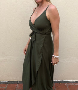 Strappy Wrap Dress - Olive