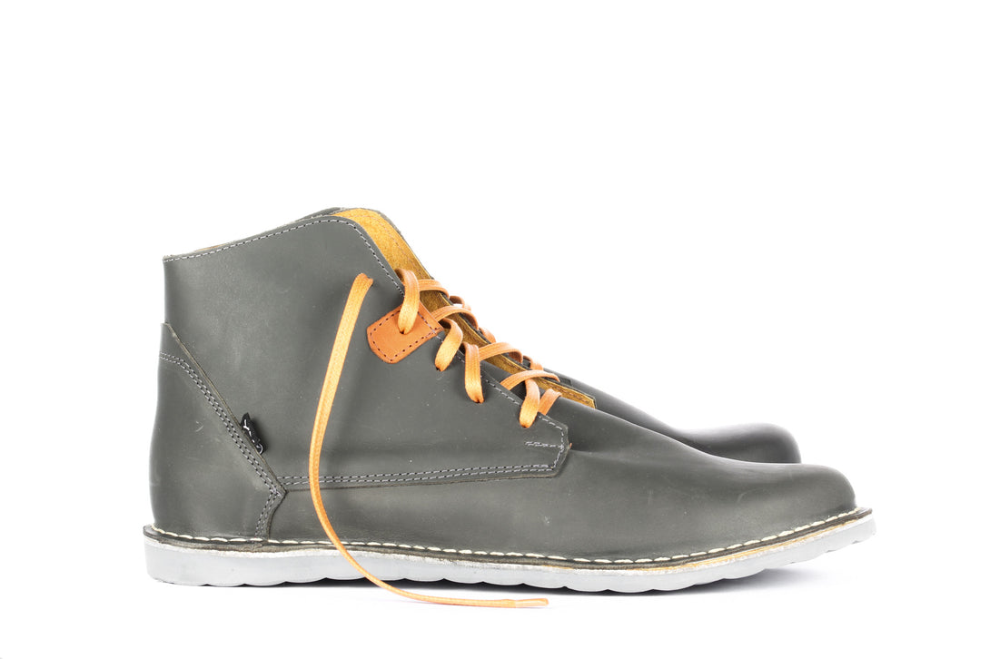 Pudu Mid Grey and Orange - Mens Shoes Bestias Shoes Australia. Handcrafted leather shoes. Sustainable and fair trade