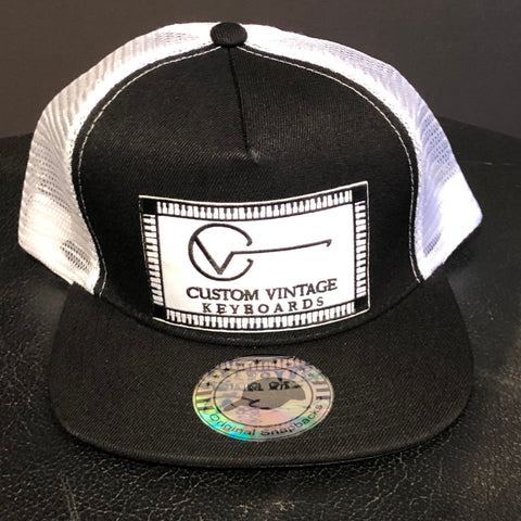 Custom Vintage Keyboards flat bill trucker hat in black and white