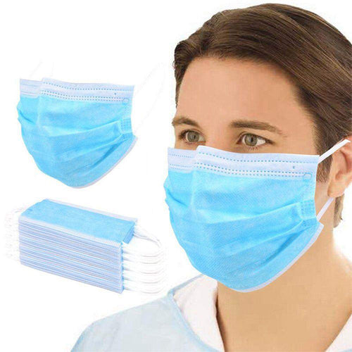 50 Pcs Disposable Face Masks, Surgical type non-medical Dust Breathable %95 filtration rate Face Mask, Comfortable Sanitary Mask Thick 3-Layer Elastic Earloop