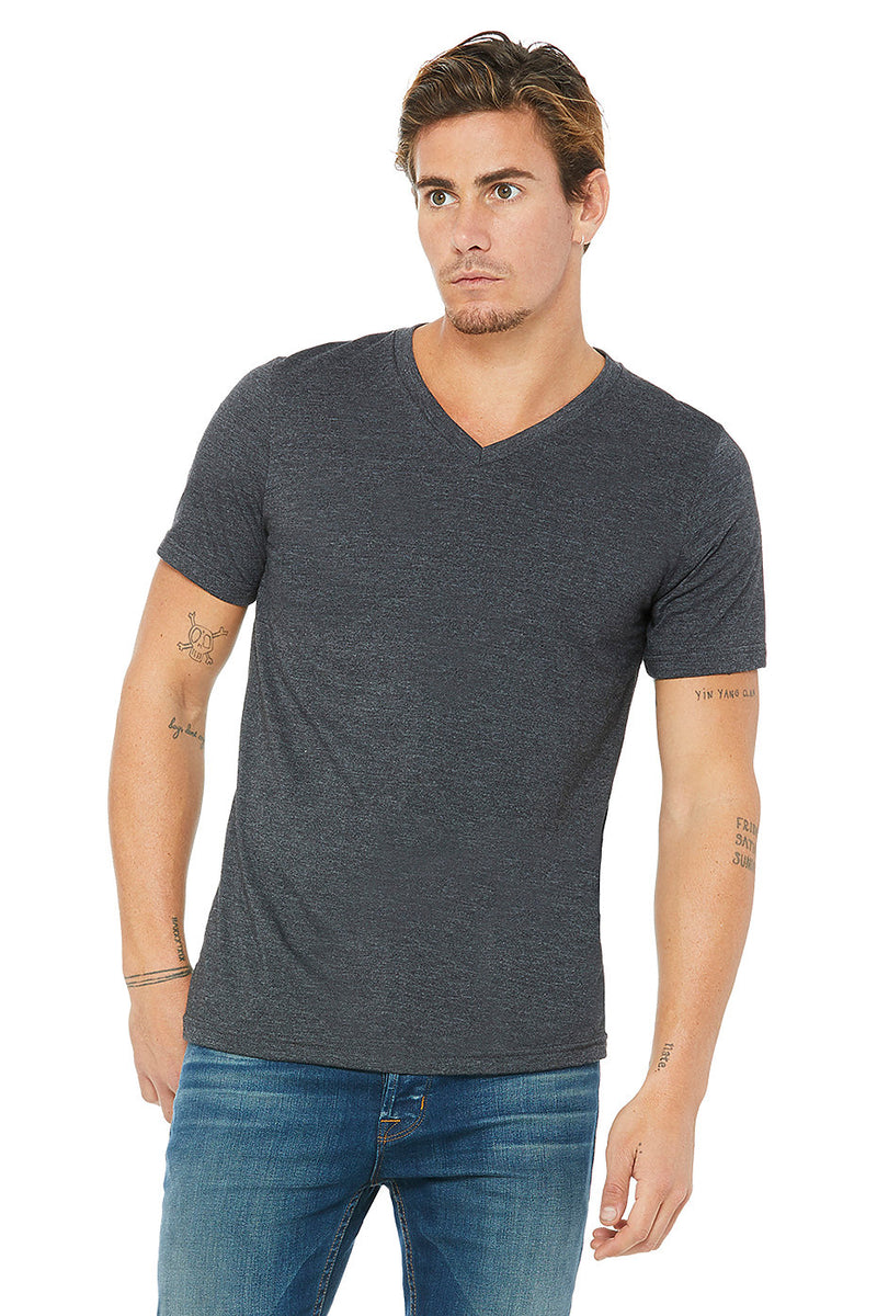 BELLA 3005 UNISEX JERSEY SHORT SLEEVE V-NECK TEE (XS - XL)