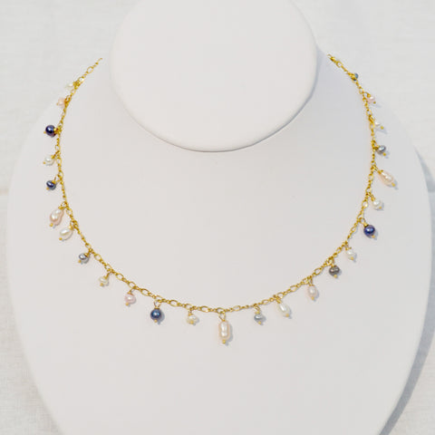 Fresh water pearl & gold chain necklace