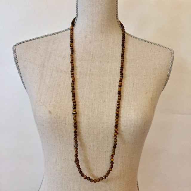 Faceted tigers-eye, oxidized silver & crystal long necklace