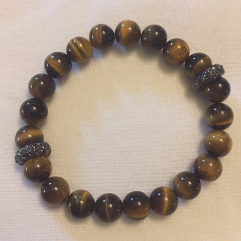 Tiger Eye with silver pave beads