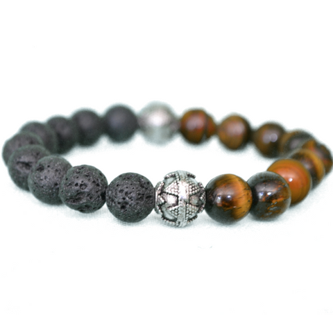 GHTM2 Bracelet Good Happens Tiger Eye & Lava Stone