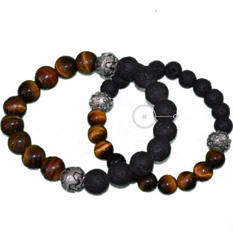 Pair  GHTM2 Bracelet Good Happens Tiger Eye & Lava Stone Partner Bracelets