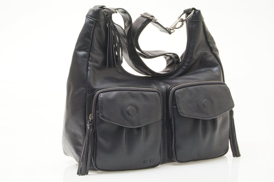 Phoenix Tassle Hobo Black nappy bag - gr8x
