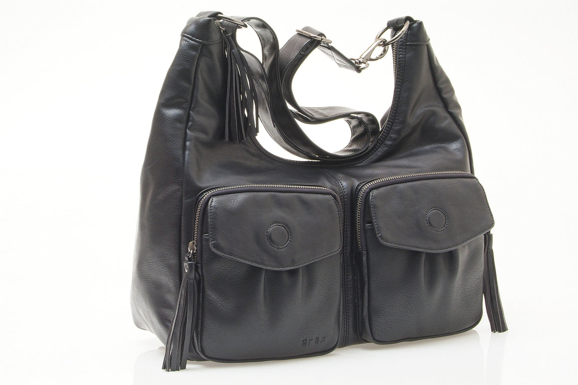 Phoenix Tassle Hobo Black nappy bag