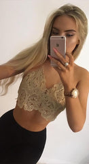 Delight sheer lace crop top halter