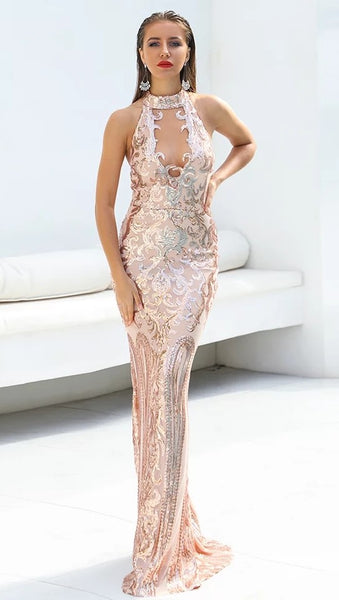 "SEQUIN MAXI HALTER EVENING DRESS - ""MYSTERIOUS"""