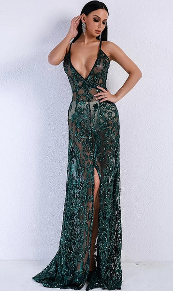 "SHEER SPARKLY EVENING GOWN - ""SPARKLING EMERALD"""