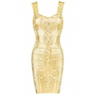 "GOLD FOIL SNAKE PRINT MINI BANDAGE DRESS - ""MEDUSSA"", Bandage  - Barbee Doll Boutique"