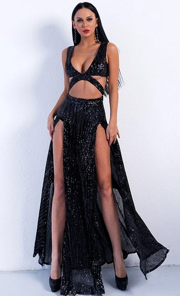 "GLITTER MAXI EVENING SLIT DRESS - ""HILDEE"", Evening  - Barbee Doll Boutique"