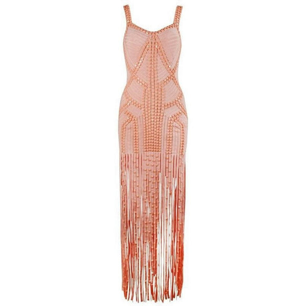 "MAXI TASSEL FRINGE BANDAGE EVENING DRESS - ""GATSBY"", Bandage  - Barbee Doll Boutique"