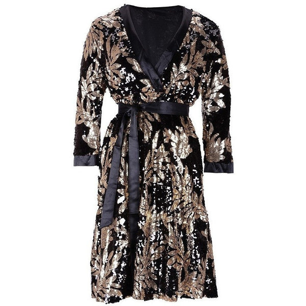 "MIDI SEQUIN BANDAGE WRAP DRESS - ""GEISHA"", Bandage  - Barbee Doll Boutique"