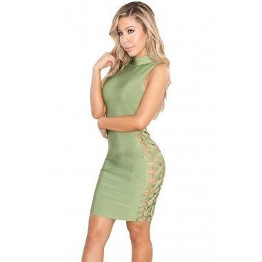 "LACE-UP MIDI BANDAGE DRESS - ""ELEGANCE"", Bandage  - Barbee Doll Boutique"