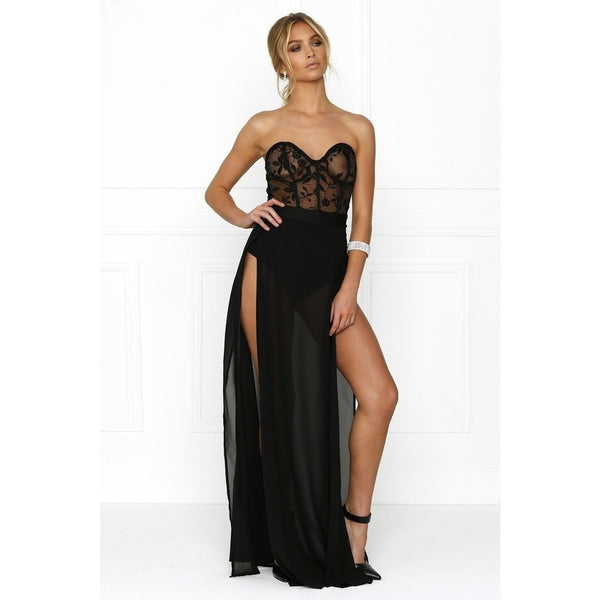 "STRAPLESS MAXI SLIT EVENING GOWN - ""POLLY"", Evening  - Barbee Doll Boutique"