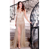 "GLITTER MAXI SLIT EVENING GOWN - ""DAZZLE"", Evening  - Barbee Doll Boutique"