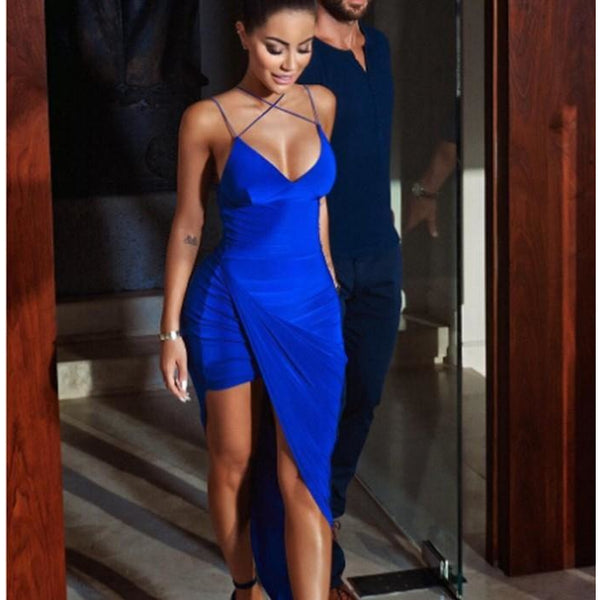 "MIDI BODYCON WRAP DRESS - ""SAPPHIRE"", Dress  - Barbee Doll Boutique"