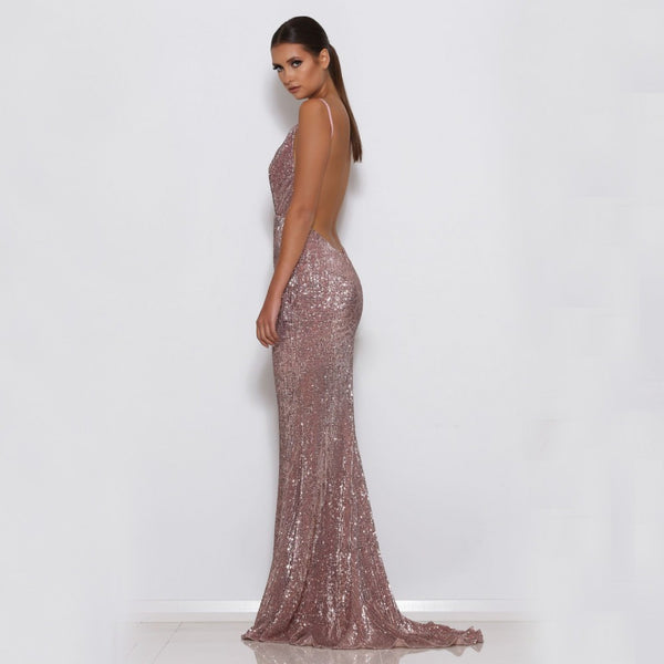 "GLITTER MAXI EVENING MERMAID GOWN - ""GORGEOUS"""