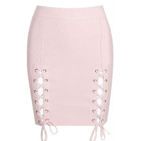 "LACE-UP MINI BANDAGE SKIRT - ""DESTRUCTION"", Skirts  - Barbee Doll Boutique"