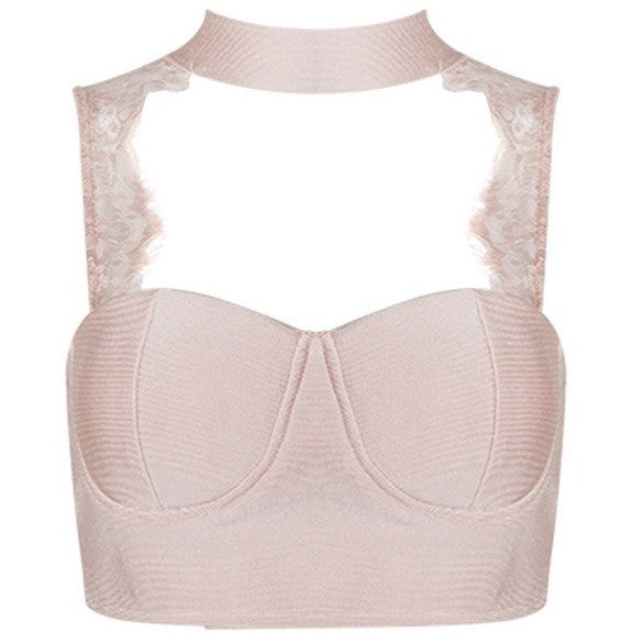 "LACE BANDAGE CROP TOP - ""AMPLIFIED"", Tops  - Barbee Doll Boutique"