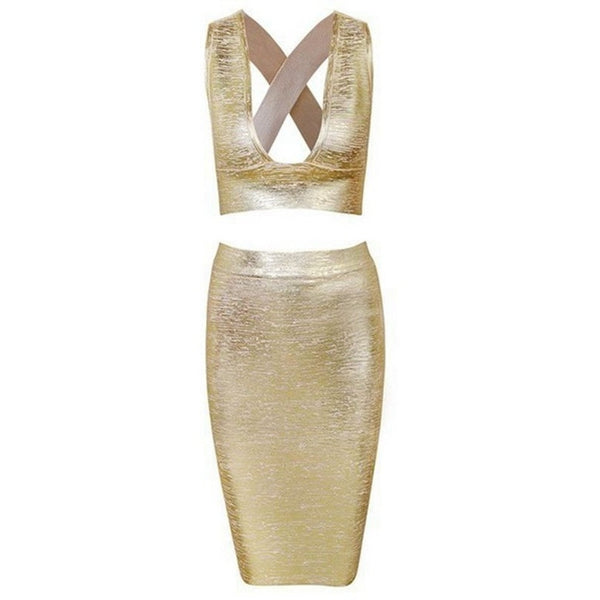 "2 PIECE MIDI FOIL BANDAGE DRESS - ""GOLD SHIMMER"", 2 Piece  - Barbee Doll Boutique"