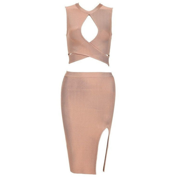 "2 PIECE MIDI BANDAGE DRESS - ""SELFISH"", Bandage  - Barbee Doll Boutique"