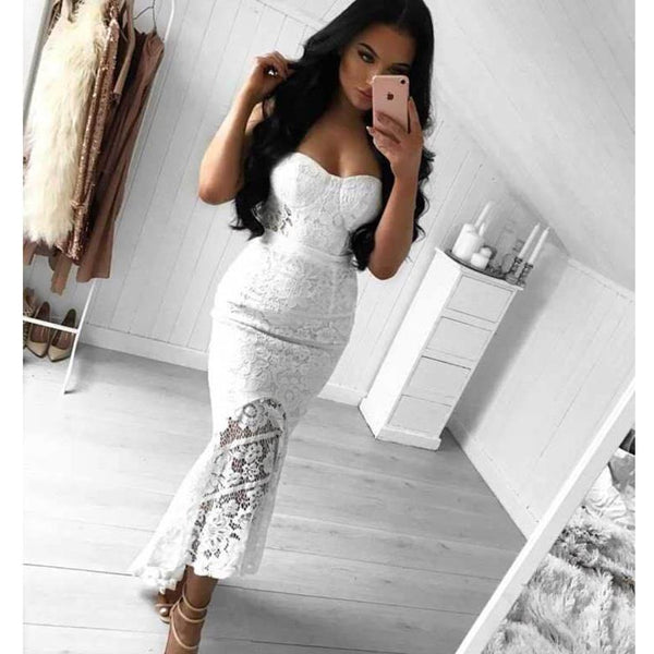 "STRAPLESS LACE MAXI  DRESS - ""PURITY"""