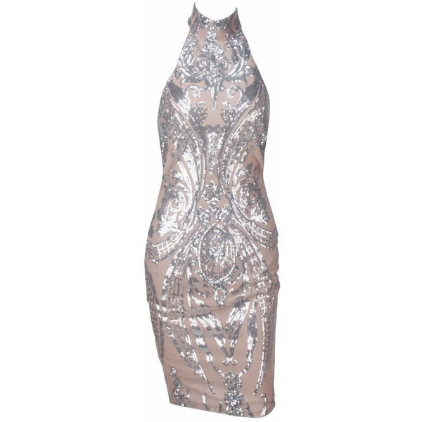 "SEQUIN HALTER MIDI DRESS - ""BLUSHIN"", Dress  - Barbee Doll Boutique"