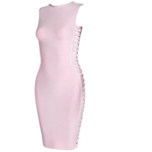 "MINI LACE-UP BANDAGE DRESS - ""KINSLEY"", Dress  - Barbee Doll Boutique"
