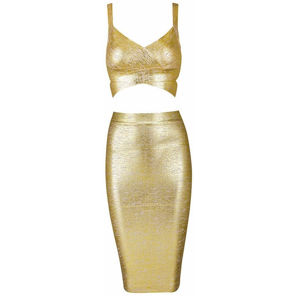 "2 PIECE MIDI BANDAGE DRESS - ""GOLD GODDESS"", 2 Piece  - Barbee Doll Boutique"