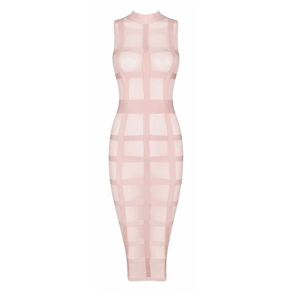 "SHEER MIDI BANDAGE DRESS - ""BABELICIOUS"", Bandage  - Barbee Doll Boutique"