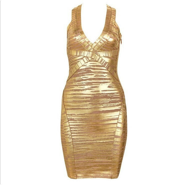 "GOLD FOIL MINI BANDAGE DRESS - ""GOLDDIGGER"", Bandage  - Barbee Doll Boutique"