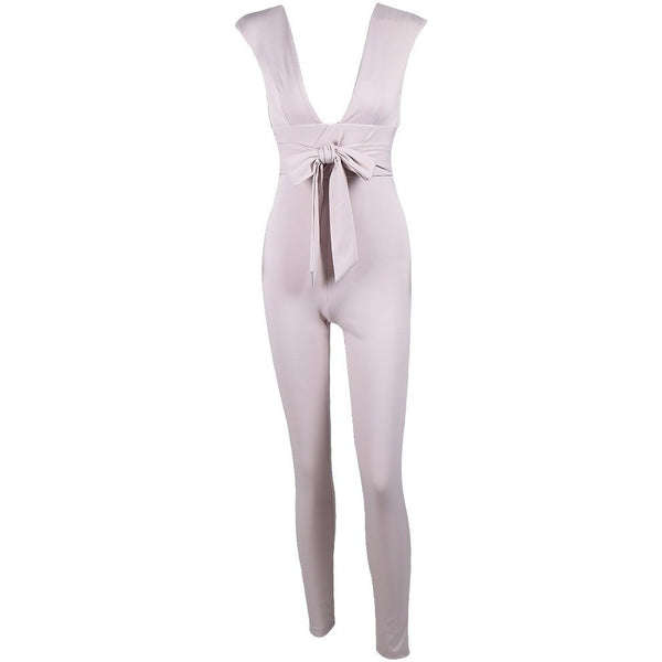 "BODYCON TIE JUMPSUIT - ""THE BEAUTY"", Jumpsuits  - Barbee Doll Boutique"