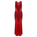 "RHINESTONE MAXI BANDAGE EVENING DRESS - ""ROUGE"", Bandage  - Barbee Doll Boutique"