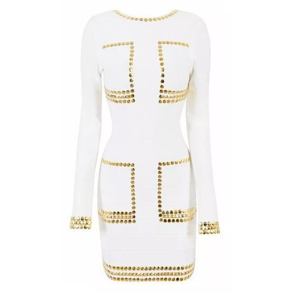 "MIDI STUDDED BANDAGE DRESS - ""WHITE GODDESS"", Bandage  - Barbee Doll Boutique"