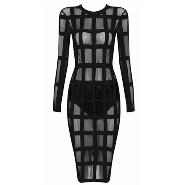 "MESH MIDI BANDAGE DRESS - ""DAHLIA"", Bandage  - Barbee Doll Boutique"