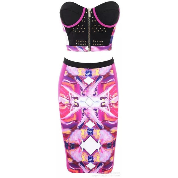 "2 PIECE STRAPLESS MIDI BANDAGE DRESS - ""PINK POODLE"", 2 Piece  - Barbee Doll Boutique"