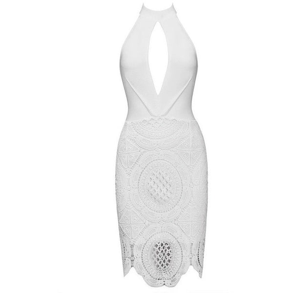 "MIDI LACE HALTER BANDAGE DRESS - ""DANCING ANGEL"", Bandage  - Barbee Doll Boutique"
