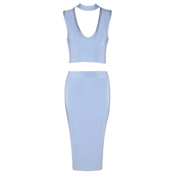 "2 PIECE MIDI BANDAGE DRESS - ""ROSE"", 2 Piece  - Barbee Doll Boutique"