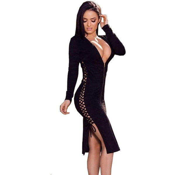 "MIDI LACE-UP BANDAGE DRESS - ""NADINE"", Bandage  - Barbee Doll Boutique"