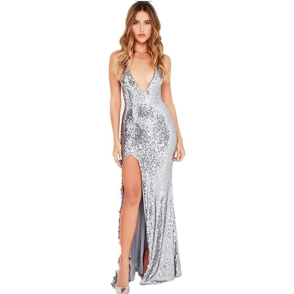 "SEQUIN MAXI EVENING DRESS - ""LUSTURE"", Evening  - Barbee Doll Boutique"