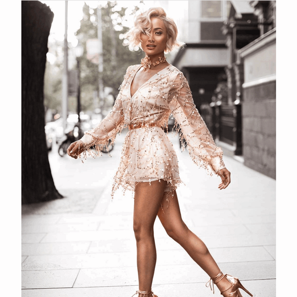 "SEQUIN PLAYSUIT - ""HEARTLESS"", Playsuit  - Barbee Doll Boutique"